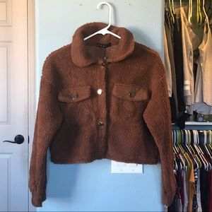 Zaful Teddy Crop Jacket